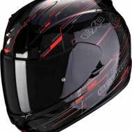 CASCO INTEGRALE MOTO SCOOTER SCORPION EXO-390 BEAT BLACK/FLUO/RED