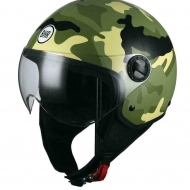 CASCO MOTO SCOOTER DEMI-JET BHR 801 ONE CAMOUFLAGE VERDE