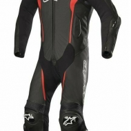 TUTA MISSILE INTERA ALPINESTARS LEATHER PELLE SUIT TECH AIR COMPATIBLE BLACK RED UOMO RAGAZZO MOTO SCOOTER PER PISTA